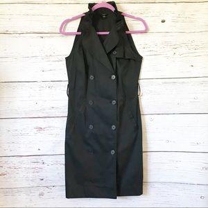 Ann Taylor Black Sleeveless Trench Dress